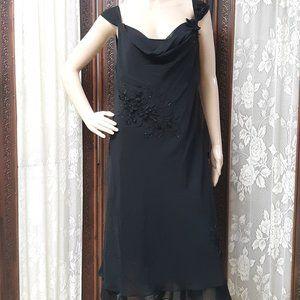 Adrianna Papelle Hand Beaded Black Evening Dress